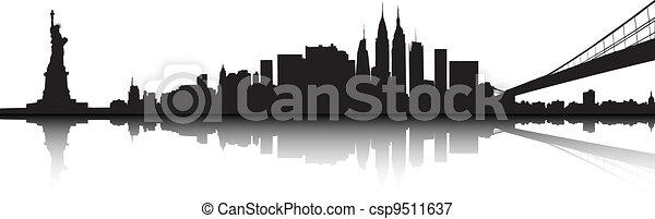 Vector Of The New York Skyline On White Background