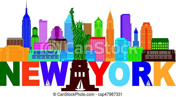 New York Skyline Text Color Illustration - csp47987331