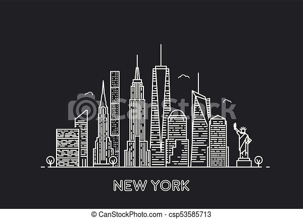 New York Skyline Travel And Tourism Background Line Art Style