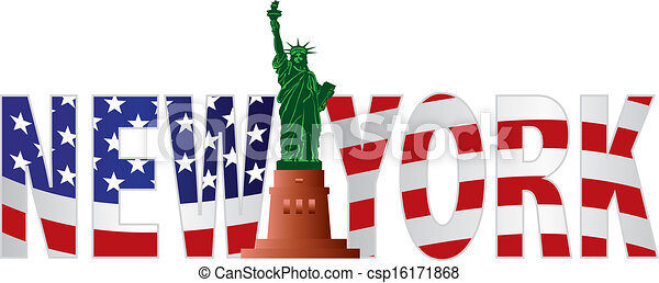 New York Text Outline US Flag in Color - csp16171868