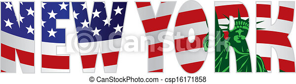 New York Text Outline US Flag Statue of Liberty - csp16171858