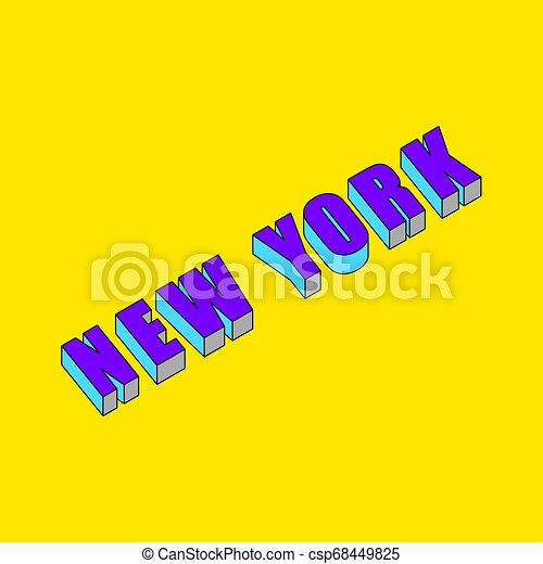 New York text with 3d isometric effect - csp68449825