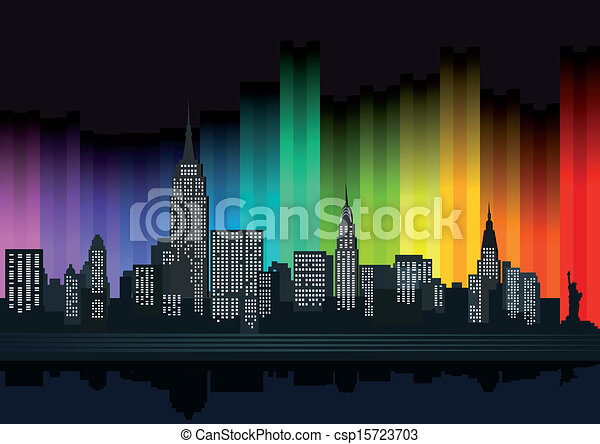 New York with colorful lights - csp15723703