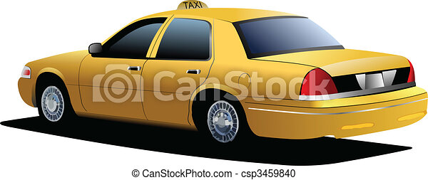 New York yellow taxi cab. Vector illustration - csp3459840