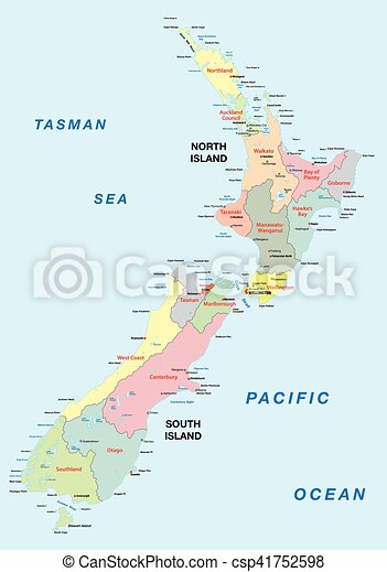 Political Map Of New Zealand.New Zealand Administrative Map