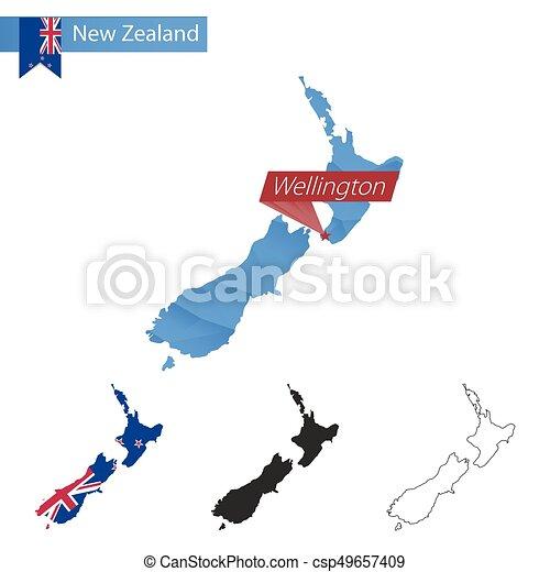 New Zealand Wellington Map.New Zealand Blue Low Poly Map With Capital Wellington