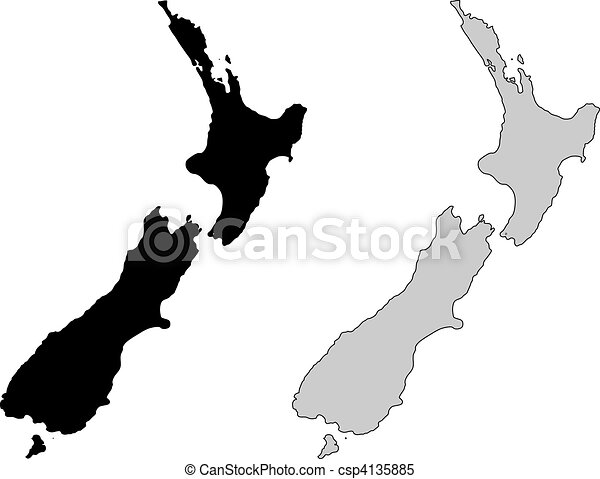 New zealand map black and white mercator projection