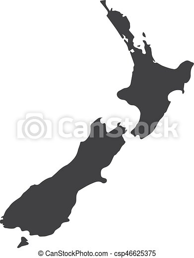 New Zealand map in black on a white background. Vector illustration - csp46625375