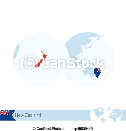 New zealand on world globe with flag and regional map of new eps new zealand on world globe with flag and regional map of new zealand csp49809440 gumiabroncs Image collections