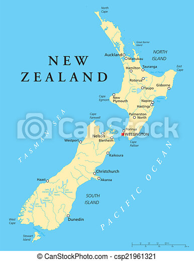 New Zealand Map Labeled.New Zealand Political Map