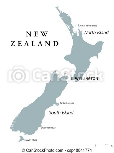 Political Map Of New Zealand.New Zealand Political Map With Capital Wellington Island Nation And