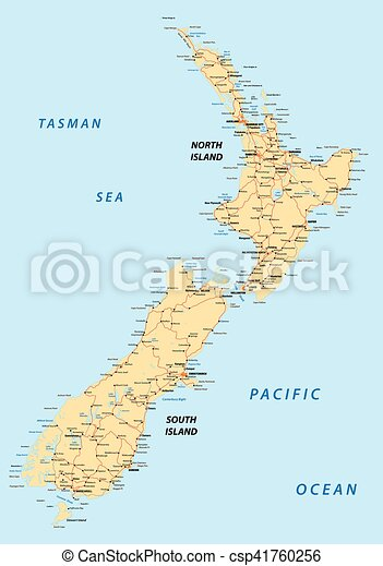 New Zealand North Island Road Map.New Zealand Road Map