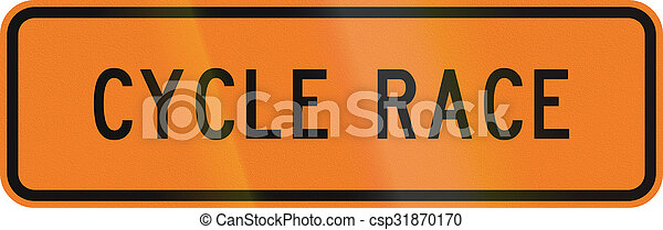 New Zealand road sign - Cycle race ahead - csp31870170