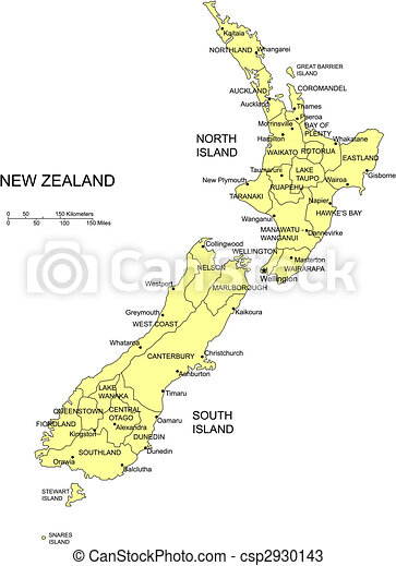 Map Of New Zealand With Cities.New Zealand With Administrative Districts