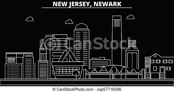 Newark silhouette skyline. USA - Newark vector city, american linear architecture, buildings. Newark travel illustration, outline landmarks. USA flat icons, american line banner - csp57716306