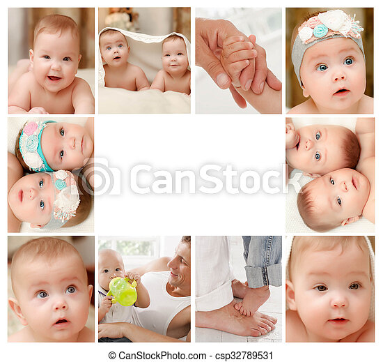newborn baby collage csp32789531