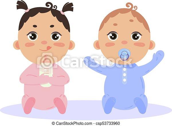 Newborn Baby Girl And Boy Sitting Together Newborn Baby Girl And Boy In Long Sleeved Footies And Scratch Mittens Sitting