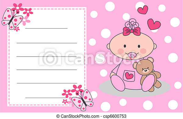 Celebration or invitation card for newborn baby girl newborn baby girl csp6600753 m4hsunfo