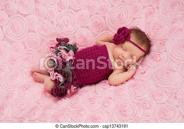 Newborn Baby Girl In Crochet Romper A Sleeping Newborn Baby Girl