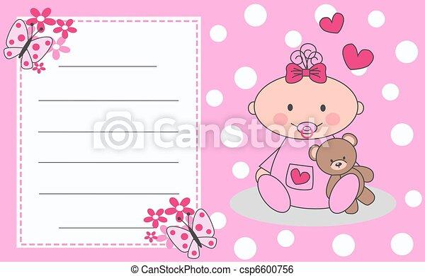 Celebration or invitation card for newborn baby girl newborn baby girl csp6600756 m4hsunfo