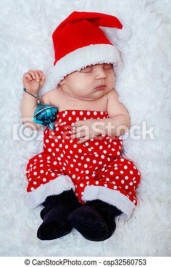 Newborn baby santa. Tiny sleeping newborn baby wearing santa hat. 10 ... 83b0f87c7a4