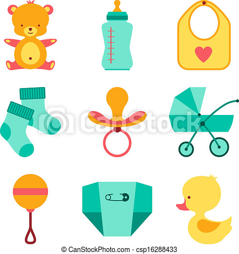 newborn baby stuff icons set rh canstockphoto com baby stuff clipart png baby stuff clipart illustrations