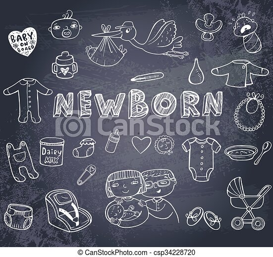 Newborn doodles set - csp34228720
