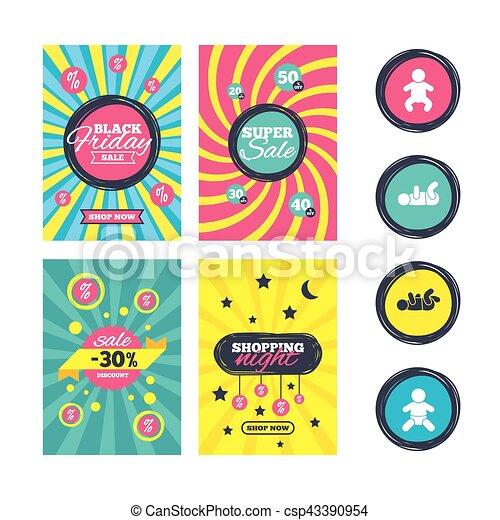 Newborn Icons Baby Infants Symbols Sale Website Banner Clipart