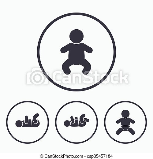 Newborn Icons Baby Infants Symbols Newborn Icons Baby Vector