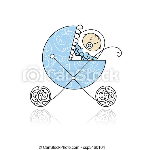 Newborn in baby's buggy for your design - csp5460104