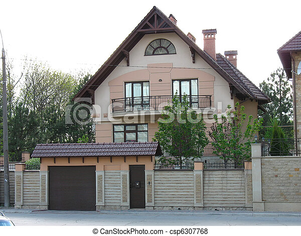 newly constructed house, modern European home - csp6307768