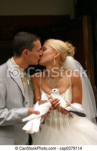 Newly-married couple - csp0379114