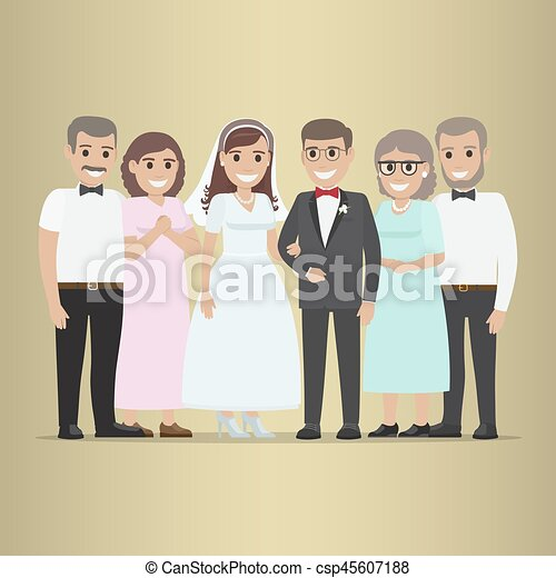 Newly Married Couple With Parents-In-Law Vector - csp45607188