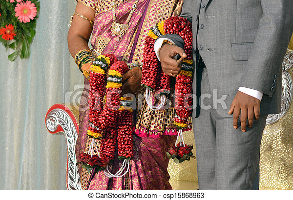 Newly Married South Indian Bride And Groom At Wedding Reception