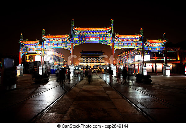 The newly re-constructed qianmen shopping district in ...