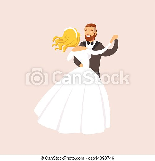 Newlyweds Dancing Waltz At The Wedding Party Scene