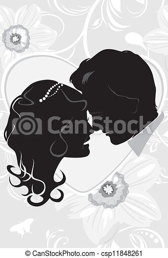 Newlyweds on the floral background - csp11848261