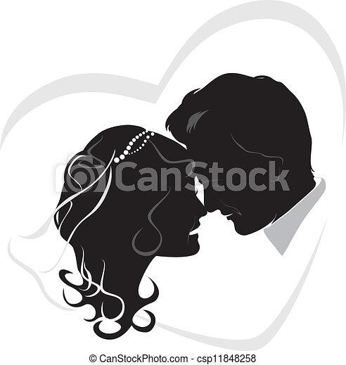 Newlyweds. Wedding icon - csp11848258
