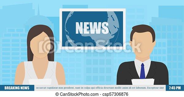 News Anchor On Tv Breaking Background Vector Illustration In Flat Design