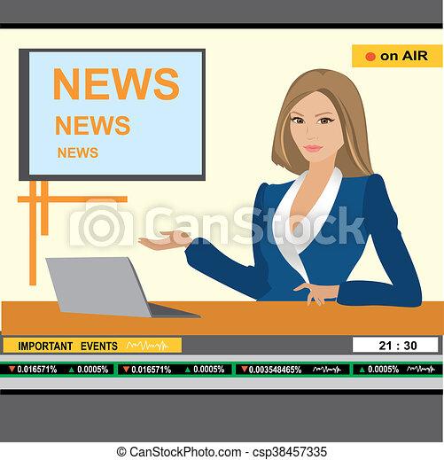 news anchor woman header TV - csp38457335