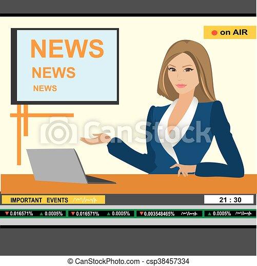 news anchor woman header TV - csp38457334