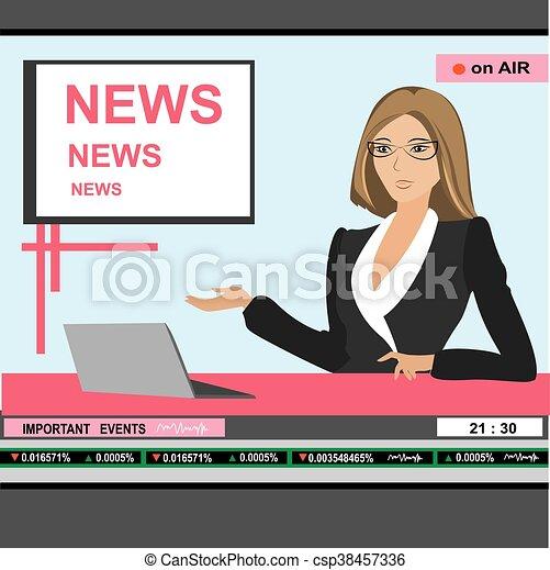 news anchor woman header TV - csp38457336