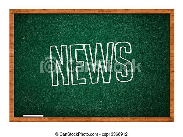 News on green chalkboard - csp13368912