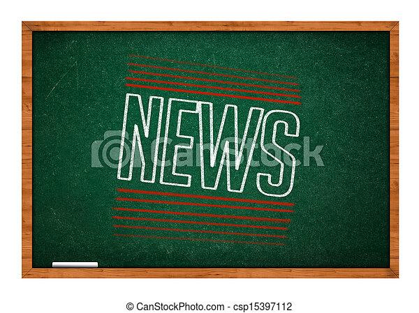 News on green chalkboard - csp15397112