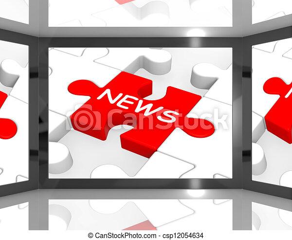 News On Screen Showing News Anchorman - csp12054634