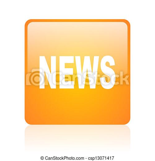 news orange square glossy web icon - csp13071417