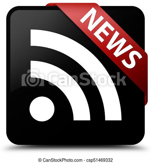 News (RSS icon) black square button red ribbon in corner - csp51469332