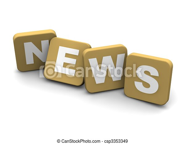 News text. 3d rendered illustration isolated on white. - csp3353349