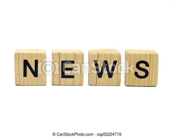 news word wooden blocks on white background - csp55224719