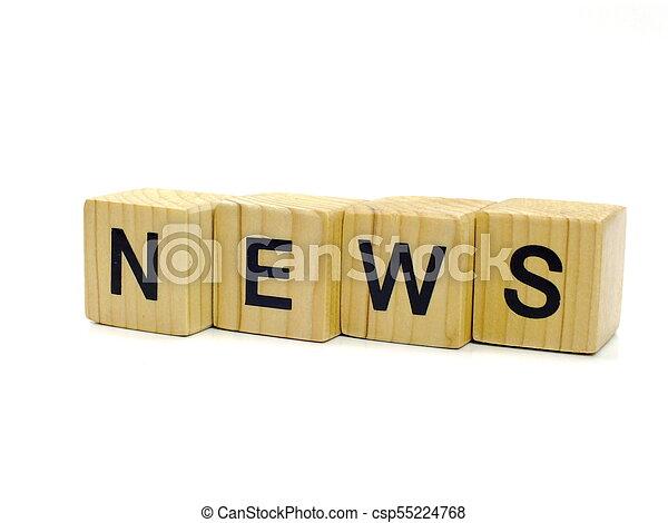 news word wooden blocks on white background - csp55224768